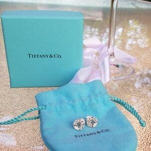 Tiffany Sterling Silver 1837 Circle Earrings